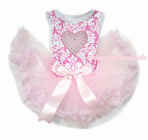 Pink White Damask Pink Heart Pink Bow Lace Skirt One Piece Pet Dog Dress Outfit