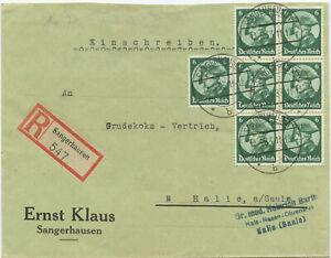 Deutsches Reich R Brief Sangerhausen Halle/Saale 1933