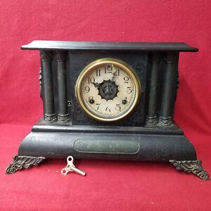 RARE Waterbury Black Mantle Clock That Has Time, Strike & Alarm Components