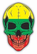 "Skull Flag Lithuania Car Bumper Sticker 4"" x 5"""
