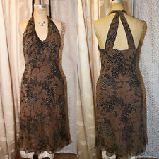 ANN TAYLOR 6 Bias Cut Ivory Brown Silk Polka Dot Floral Dress Retro Swing