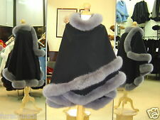 Black Cashmere Cape With Blue Gray Fox Fur Trim Beautifully Canadian Label