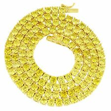 Canary Lab Diamond Tennis Necklace 14k Gold Finish 20 Inch Chain 4mm Men Womens