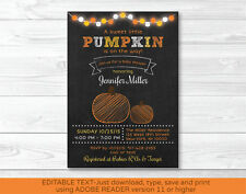 Pumpkin Chalkboard Printable Baby Shower Invitation Editable PDF