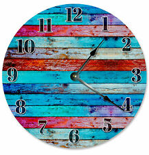 COLORED WOOD BOARDS RAINBOW CLOCK Large 10.5 inch Wall Clock RUSTIC - 2129