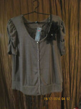 Womens size PLUS 3X BROWN PUFFED SLEEVES SHRUG  PEARL SHAPED BUTTONS