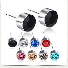 Women's Stud Earrings Round CZ Titanium Steel Butterfly Pierced 1 pairs