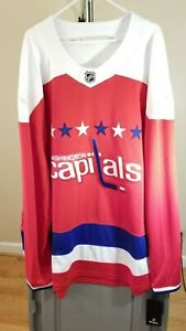 Washington Capitals NHL Fanatics Classic Red White Blue Team Logo 5XL Jersey