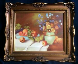 Still life acrylic painting Signed Osborne Ornate wooden frame [AH177]