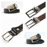 """Mens Leather Black Wide Narrow Designer Belt Belts Size For waist 29"""" to 49"""""""