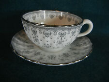 Spode Fleur de Lis Lys Gray Bone China Cup and Saucer Set(s)