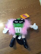 """M&M Plush Green Character 8.5"""" w/Cat Costume Mask Pink Boa Boots & Tail Rare Tag"""