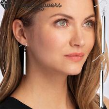 925 Sterling Silver Filled Straight Cut Drop Dangle Vertical Bar Earrings Women