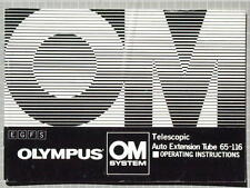 OLYMPUS OM TELESCOPIC AUTO EXTENSION TUBE 65-116 OPERATING INSTRUCTIONS MANUAL