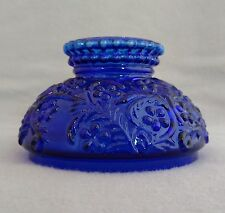 """4 inch COBALT BLUE GLASS MINIATURE OIL LAMP SHADE """"Forget-Me-Nots"""" PATTERN"""