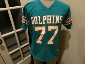 Vtg 80's Miami Dolphins #77 A.J. Duhe Rawlings 50-50 NFL Jersey Fits Adult M Usa