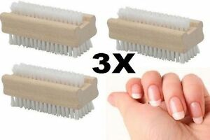 6xWOODEN NAIL BRUSH MANICURE & PEDICURE SCRUBBING CLEANING BRISTLES BOTH SIDES