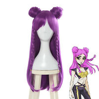 LOL League of Legends Kaisa Purple Long Straight Braid Buns Cosplay Wig New Skin