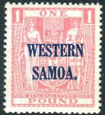 SAMOA-1935-42 £1 Pink POSTAL FISCAL.  A mounted mint example Sg 192