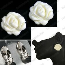 CLIP ON vintage style 3cm BIG FLOWER CREAM ROSE Earrings RETRO CLIPS roses