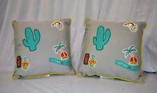 "Badges Decorative Throw Pillow 16""x16"" Gray Marble 2 Set New (Phc39216)"