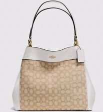 NWT Coach 57612 Lexy Outline Signature Shoulder Bag Handbag Light Khaki / Chalk