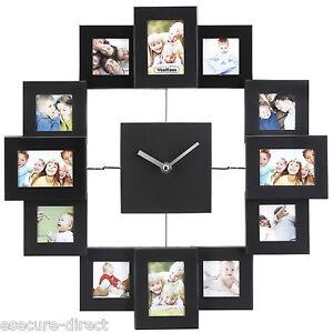 VonHaus Black Aluminium Modern Multi 12 Picture Photo Frame Wall Collage Clock