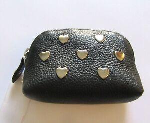 Brighton Pretty Tough Stud Coin Purse/Pouch- leather -silver heart studs-black