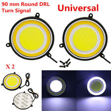 2x LED Car Daylights Round Dual Circle Waterproof DRL White Turn Signal Lamp 9cm
