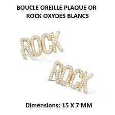BOUCLE OREILLE ROCK OXYDES NOIRS ROND NOIR   Plaqué Or 18K