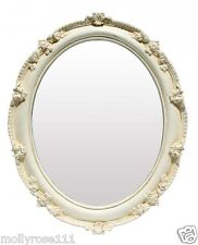 Detalle Oval Shabby White Decorative Ornate Wall Standing Looking Glass Mirror