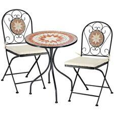 Set Tavolo + Sedie Pieghevoli Mosaico Arredo Esterno Giardino Metall Con Cuscino