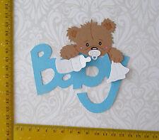 Kartenschmuck Sticker Geburt Baby Teddy auf Schrift blau