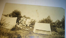 Antique American Camping Tents Family! Baby Carriage! Real Photo Postcard! RPPC!