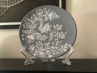 "Grey & white hand painted decorative plate bird flowers BoHo decor 7.75"" + stand"