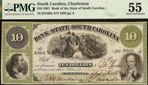 1861 $10 DOLLAR SOUTH CAROLINA BANK NOTE LARGE CURRENCY PAPER MONEY PMG 55