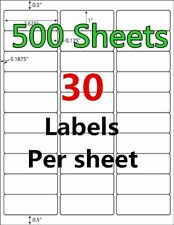 15000 500 Sheet 1 x 2 5/8 Address Shipping Labels Laser Injet Adhesive 2.625 x 1