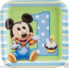 Disney Mickey Mouse 1st Birthday Dessert Snack Plates 8pcs Party Supplies