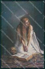 Vanitas Scheletro Skeleton Teschio Lady cartolina postcard QT5033