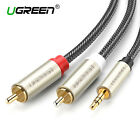UGREEN RCA Audio Cable 3.5mm Jack to 2 RCA Nylon Braided AUX Splitter Y Cable