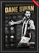 Dane Swan Signed AFL Collingwood Retirement Print Framed 2011 Brownlow OFFICIAL