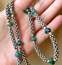 "Artisan Made .925 Sterling Silver Green Quartz Necklace Heavy 54 Grams 19"" Long"