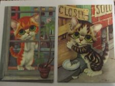 Vintage Gig Big Eyes Cat Art Print Canvas Pictures 5x7 Lot of Two