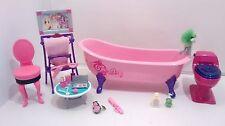 Barbie GLAM Pink Bathroom Bathtub Toilet for My Dream House Accessories Makeup