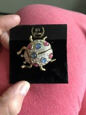 Brand New M. V. Vellano Rhinestone Lady Bug Brooch!