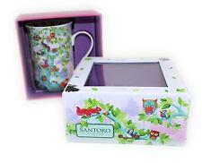 NEW Santoro Tall Mug In Gift Box Wildwood Owls Coffee Tea Cup Boxed
