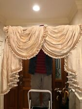 Custom window treatment curtain drapery valance champagne lined Silk high-end