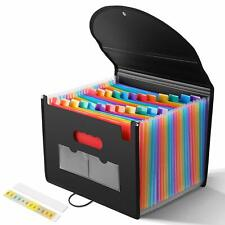 24 Pockets Expanding Files Folder with Cover Accordian Folder Organizer Plastic