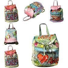 echt Leder Vintage Rucksack Schultasche Schultertasche Graffiti  Bunte Tasche