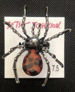 New Betsey Johnson Glampire Hematite Tone Spider Statement Ring Size 7.5
